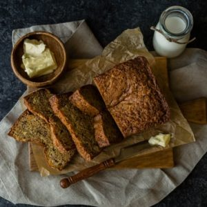 Banana bread baked served with butter