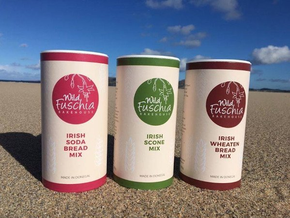Gift Range of Irish Bread Mixes from Wild Fuschia Bakehouse sitting on a Donegal Beach