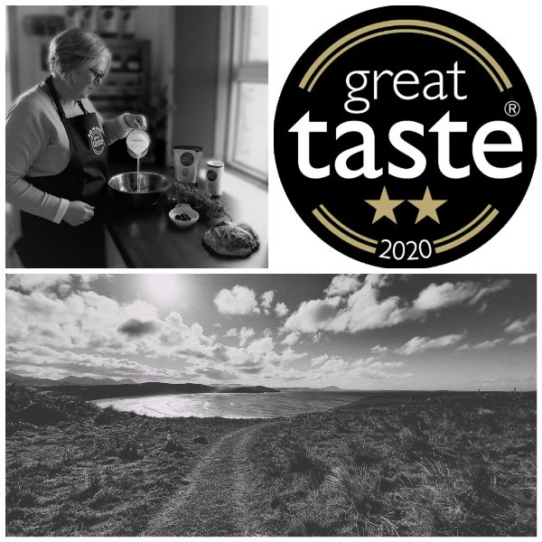 Black and white collage of Donegal landscape great taste logo and making soda bread
