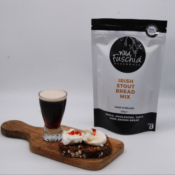Wild Fuschia Bakehouse Irish Stout Bread Mix with the bread sliced and topped with goats cheese and home made sweet chilli jam